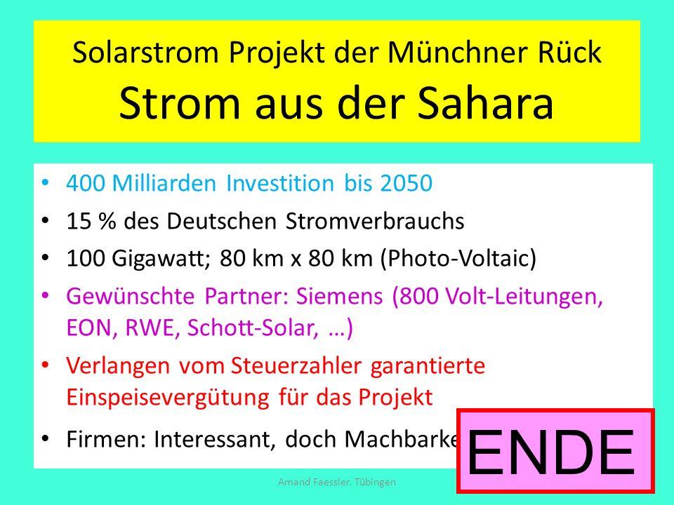 Solarstrom Projekt der Münchner Rück Strom aus der Sahara