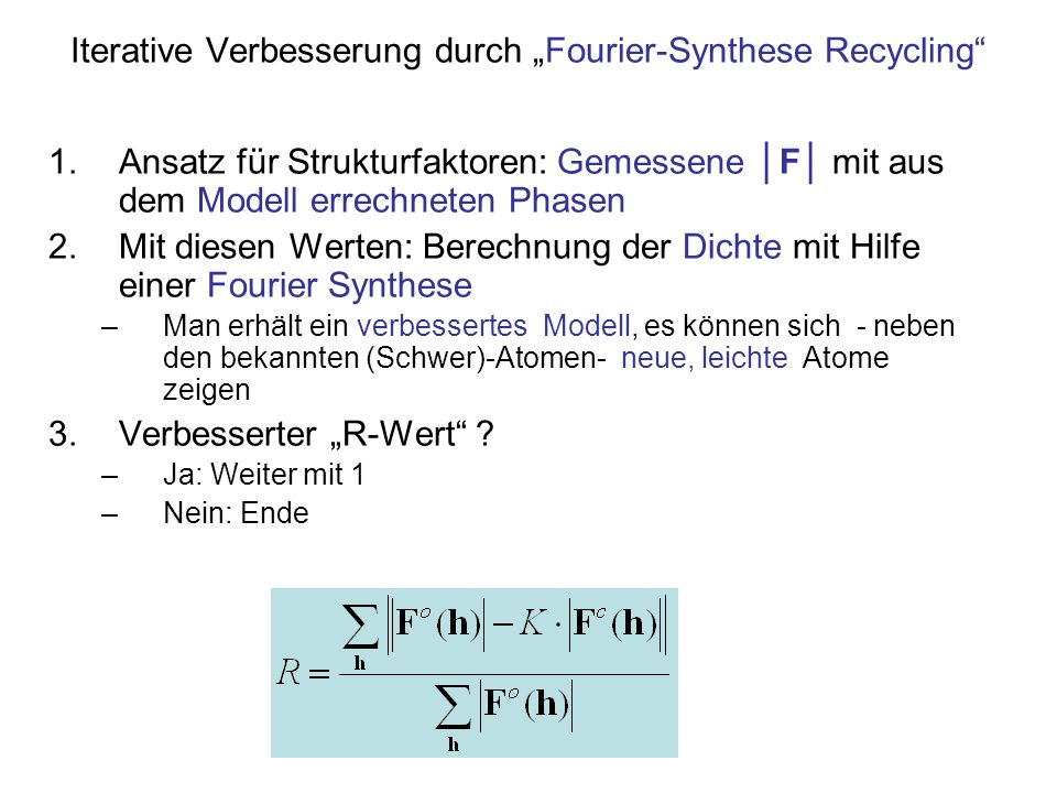 "Iterative Verbesserung durch ""Fourier-Synthese Recycling"