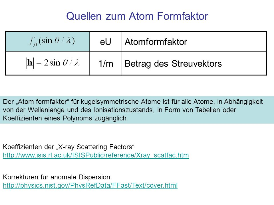 Quellen zum Atom Formfaktor