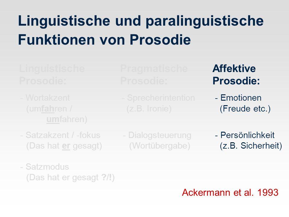 Linguistische und paralinguistische Funktionen von Prosodie