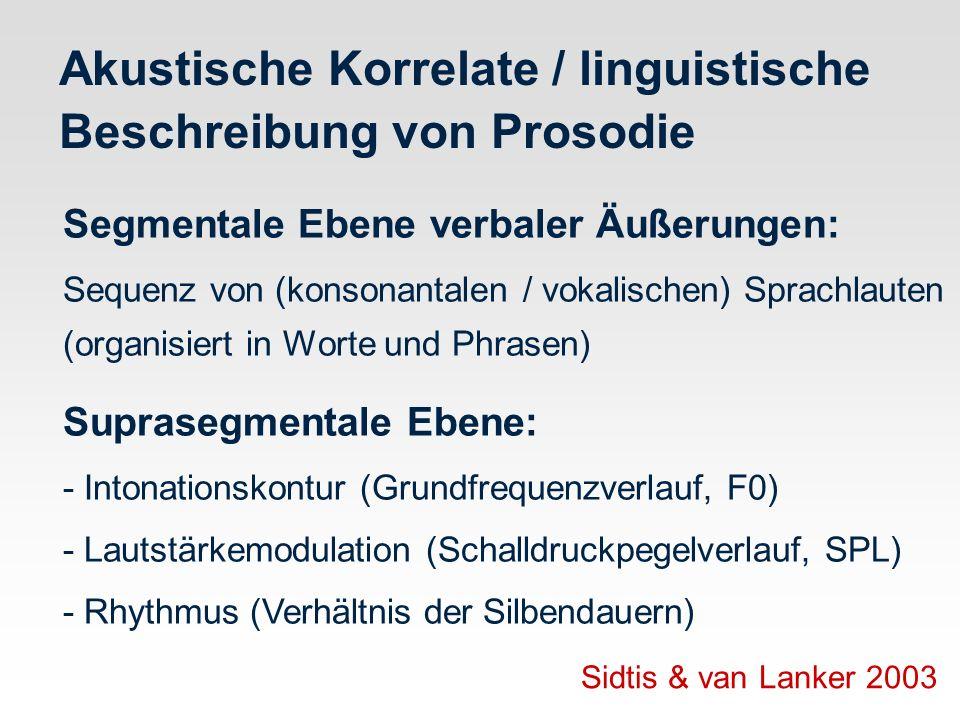 Akustische Korrelate / linguistische Beschreibung von Prosodie