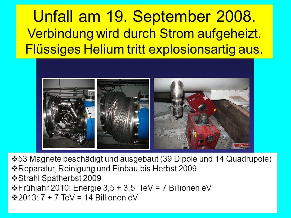 Unfall am 19. September 2008. Verbindung wird durch Strom aufgeheizt. Flüssiges Helium tritt explosionsartig aus.