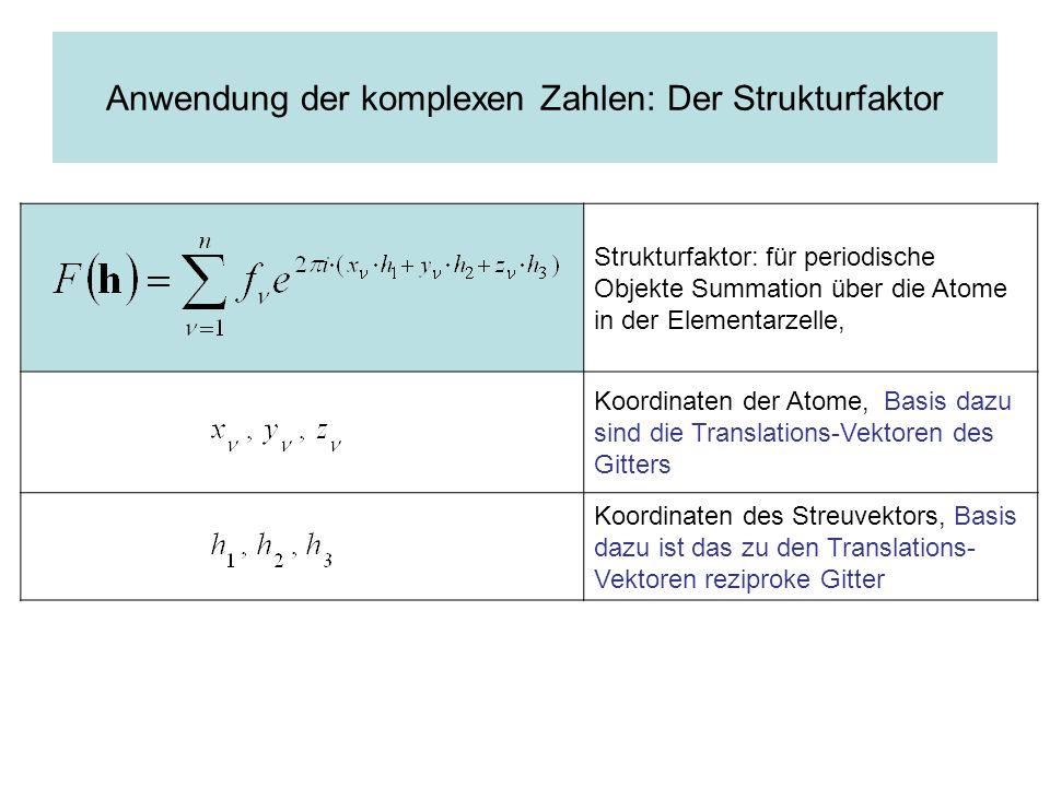 Anwendung der komplexen Zahlen: Der Strukturfaktor