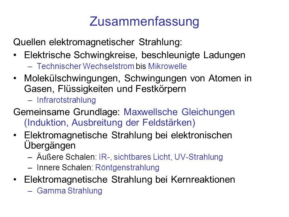 Zusammenfassung Quellen elektromagnetischer Strahlung: