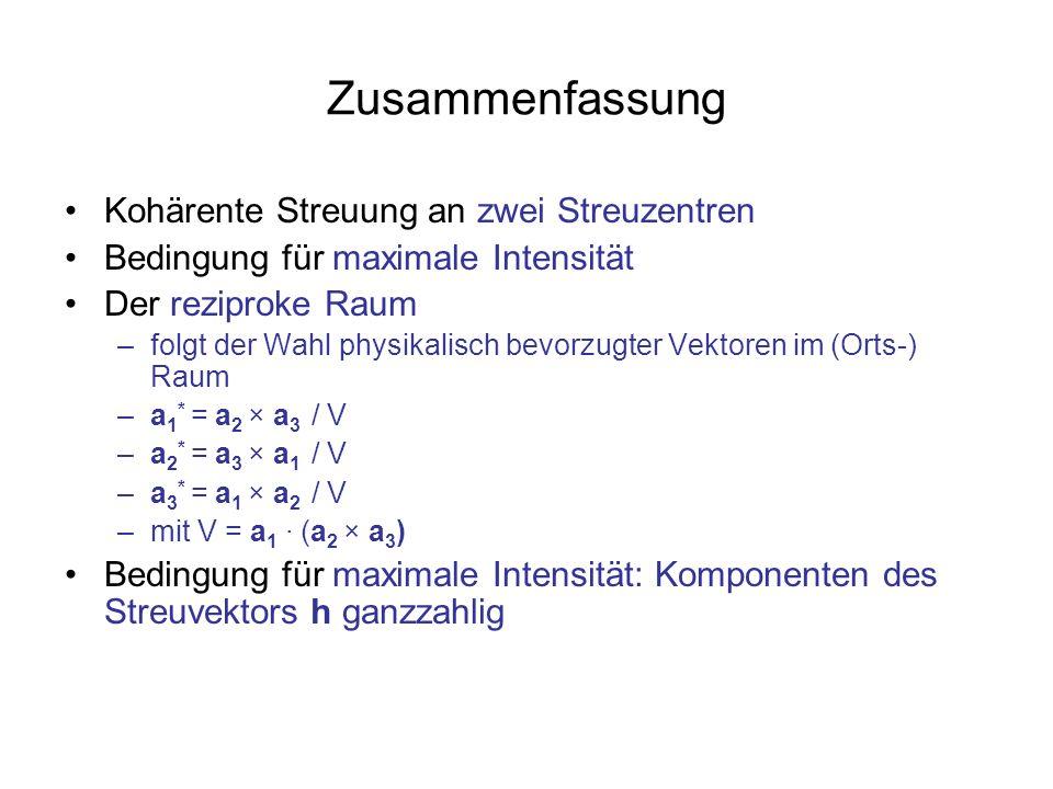 Zusammenfassung Kohärente Streuung an zwei Streuzentren