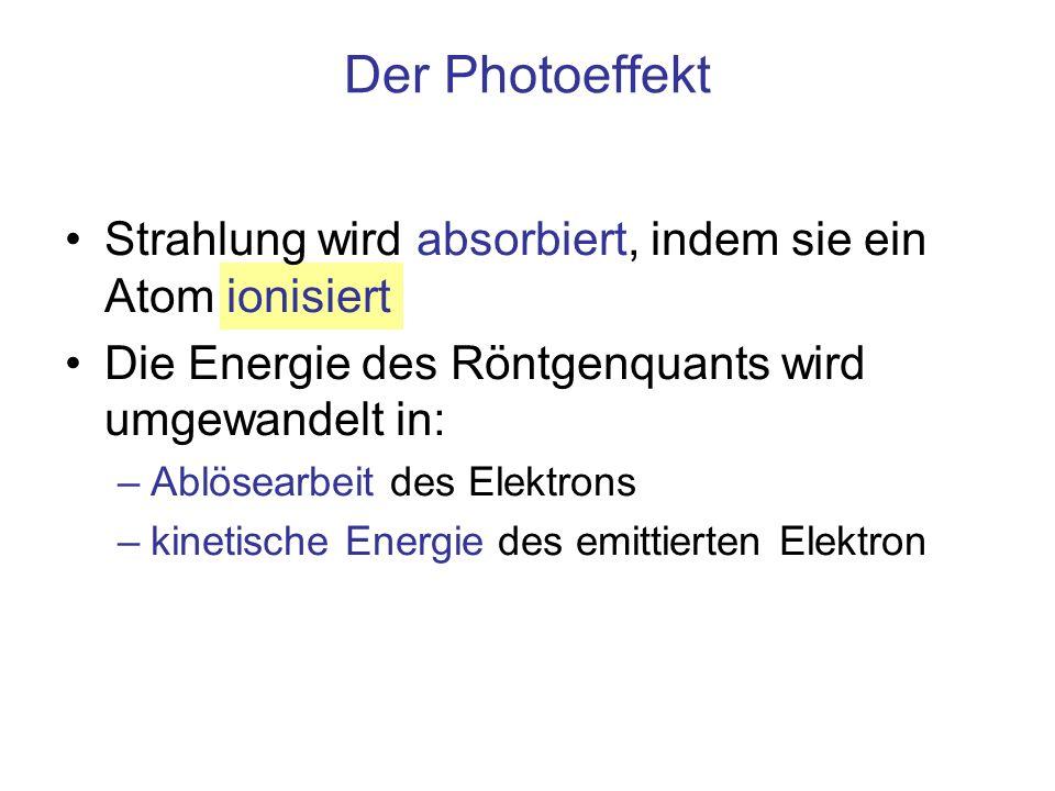 Der Photoeffekt Strahlung wird absorbiert, indem sie ein Atom ionisiert. Die Energie des Röntgenquants wird umgewandelt in: