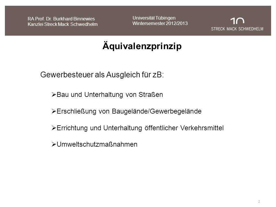 Äquivalenzprinzip Gewerbesteuer als Ausgleich für zB: