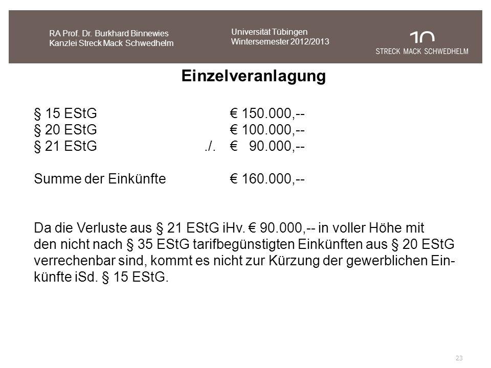 Einzelveranlagung § 15 EStG € 150.000,-- § 20 EStG € 100.000,--