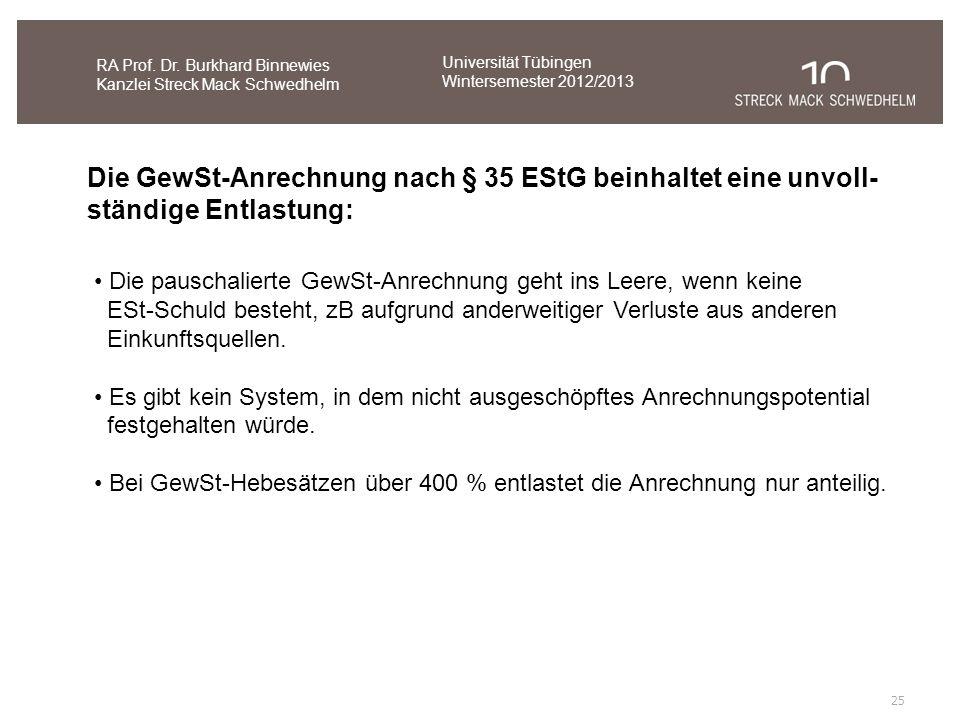 Die GewSt-Anrechnung nach § 35 EStG beinhaltet eine unvoll-