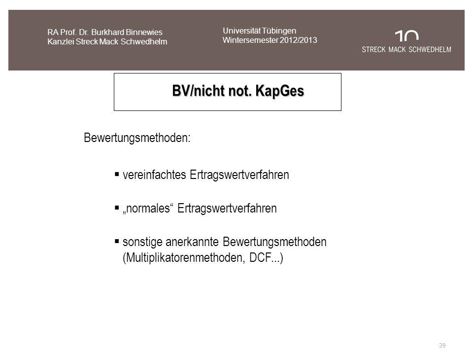 BV/nicht not. KapGes Bewertungsmethoden: