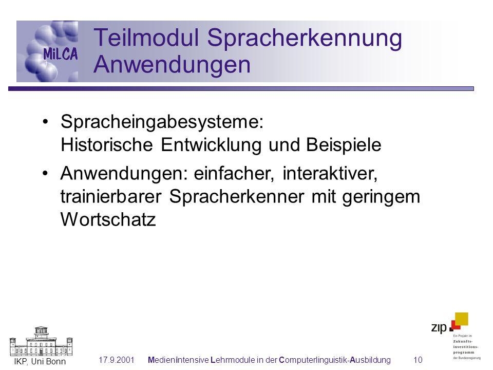 Teilmodul Spracherkennung Anwendungen