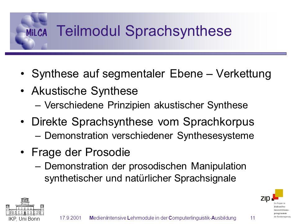 Teilmodul Sprachsynthese