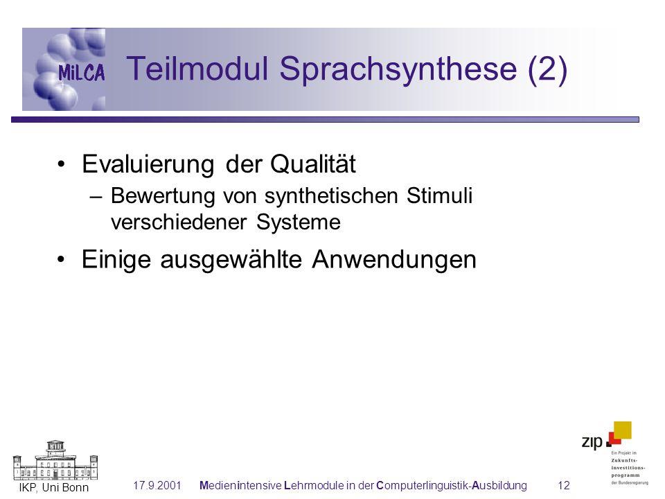 Teilmodul Sprachsynthese (2)