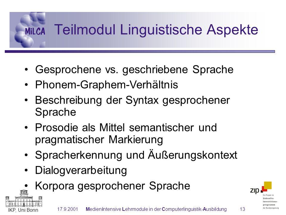 Teilmodul Linguistische Aspekte