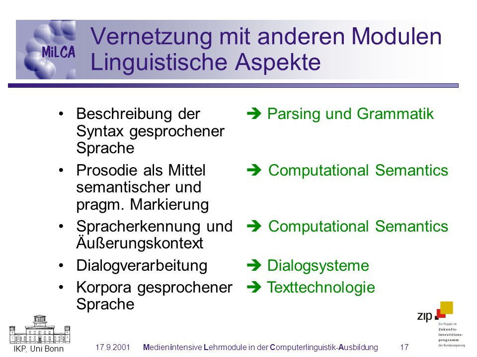 Vernetzung mit anderen Modulen Linguistische Aspekte