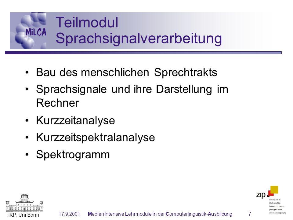 Teilmodul Sprachsignalverarbeitung