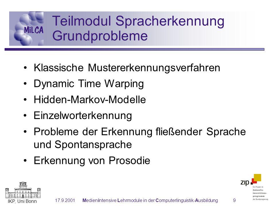 Teilmodul Spracherkennung Grundprobleme