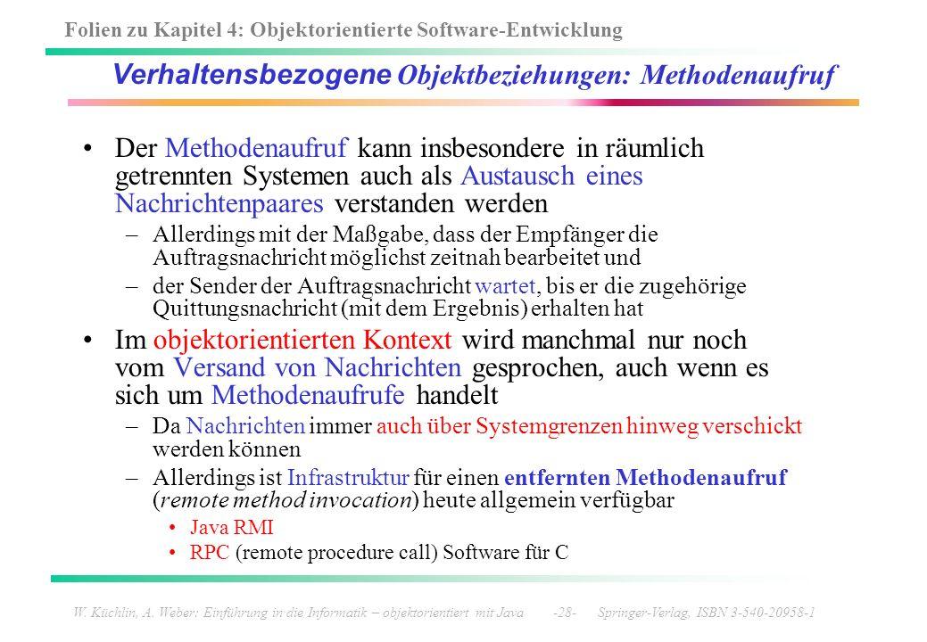 Verhaltensbezogene Objektbeziehungen: Methodenaufruf