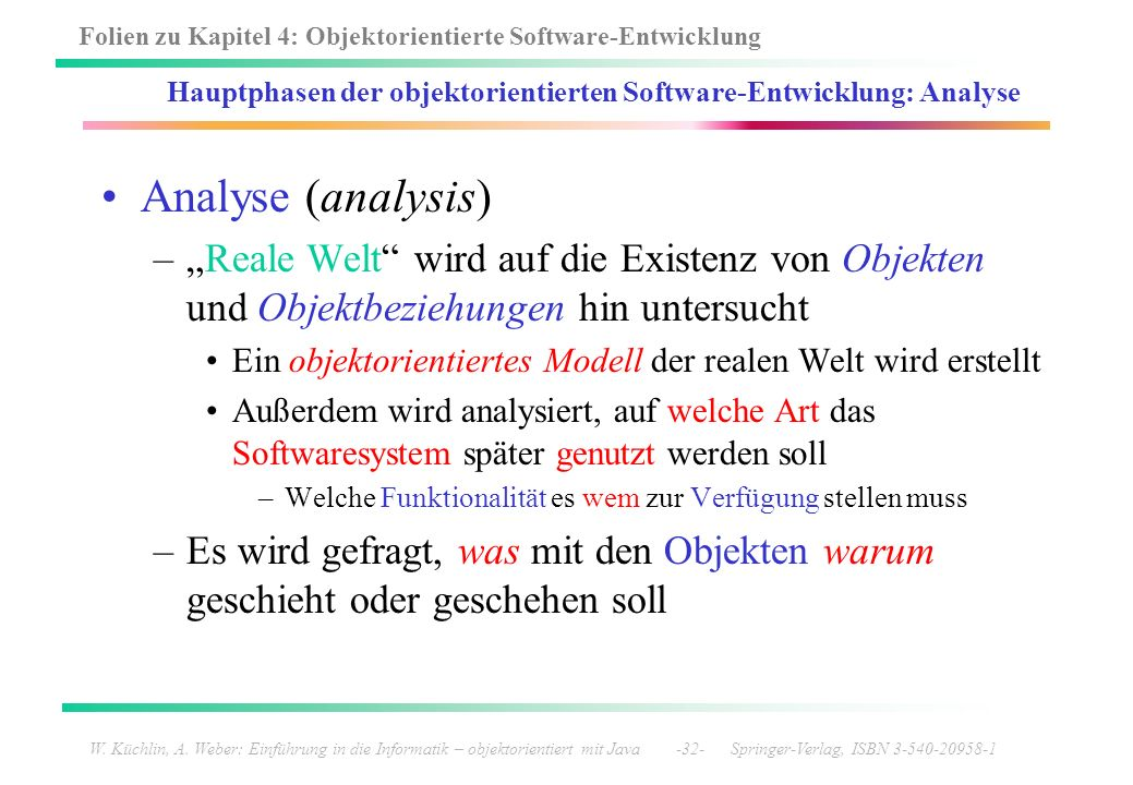 Hauptphasen der objektorientierten Software-Entwicklung: Analyse
