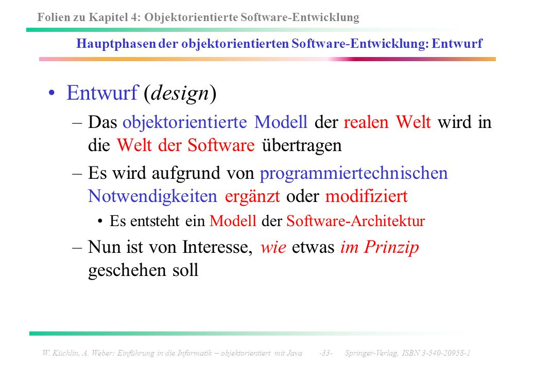Hauptphasen der objektorientierten Software-Entwicklung: Entwurf