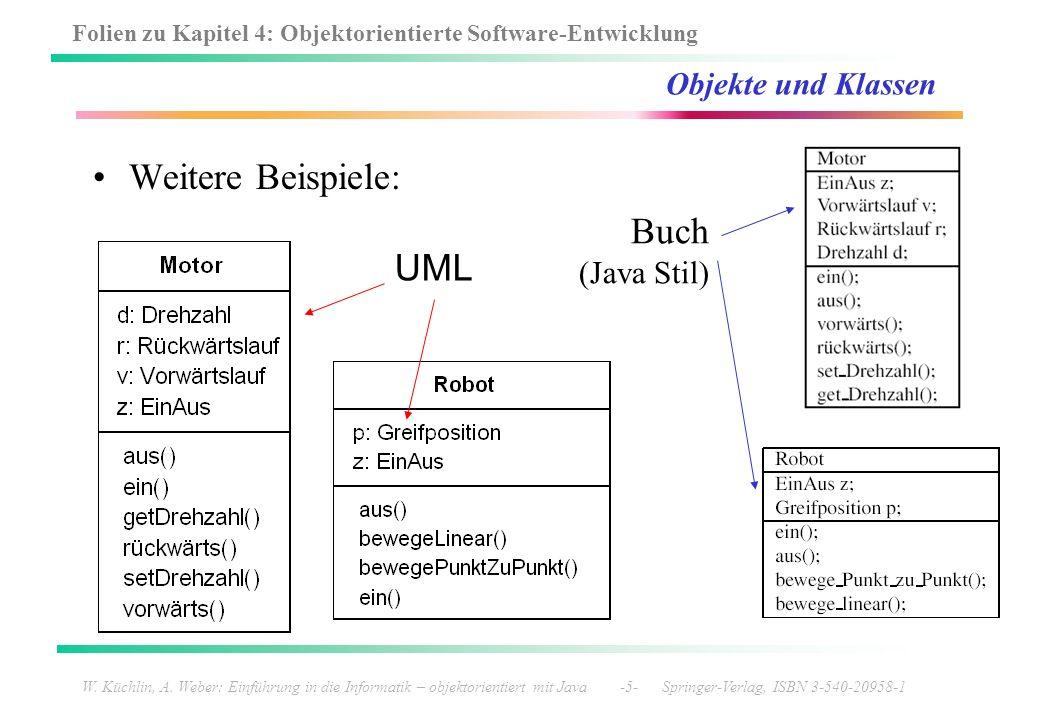Weitere Beispiele: Buch UML Objekte und Klassen (Java Stil)