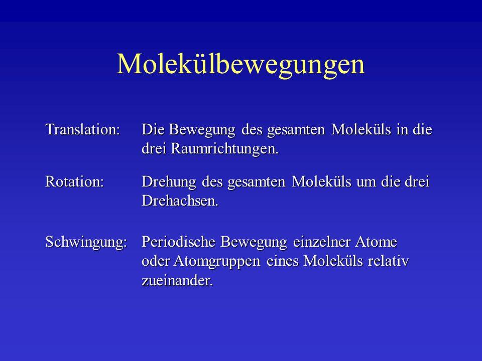Molekülbewegungen Translation: Die Bewegung des gesamten Moleküls in die drei Raumrichtungen.