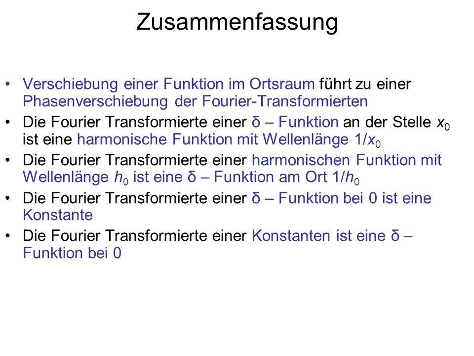 Zusammenfassung Verschiebung einer Funktion im Ortsraum führt zu einer Phasenverschiebung der Fourier-Transformierten.