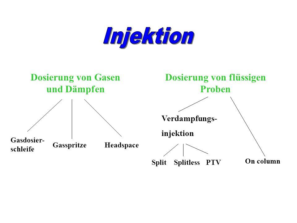 Dosierung von Gasen und Dämpfen Dosierung von flüssigen Proben