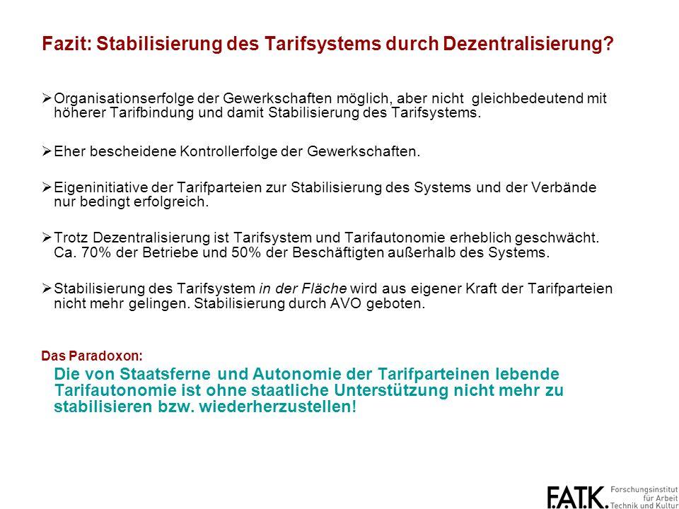 Fazit: Stabilisierung des Tarifsystems durch Dezentralisierung
