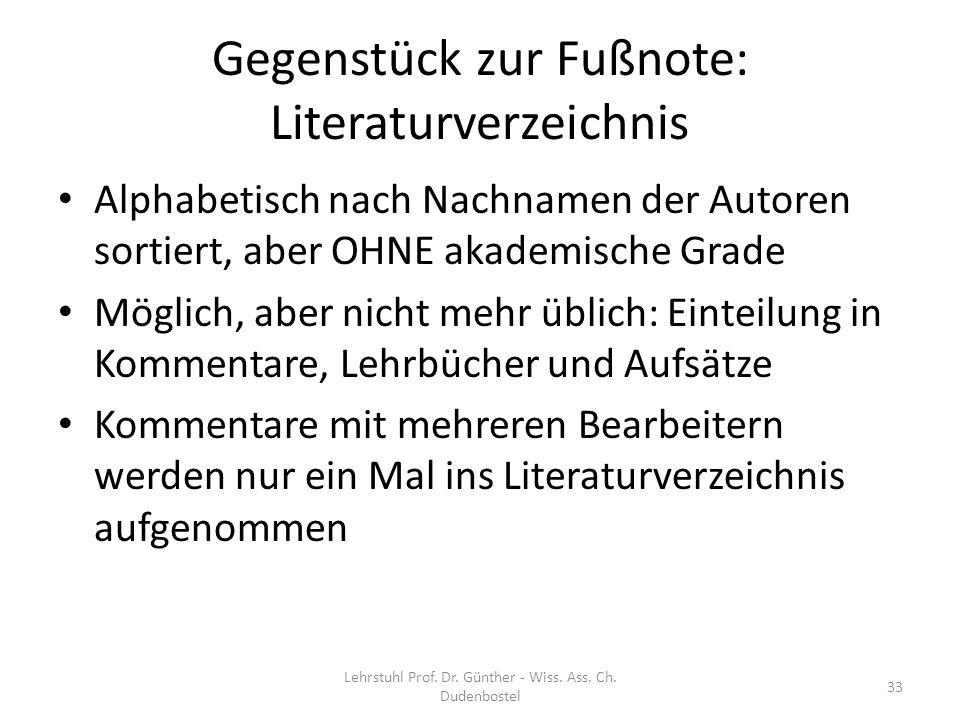 Gegenstück zur Fußnote: Literaturverzeichnis