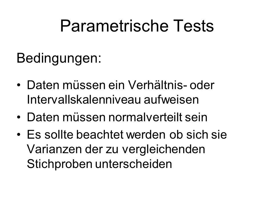 Parametrische Tests Bedingungen: