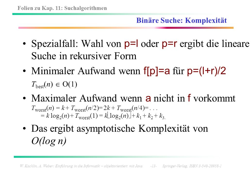 Binäre Suche: Komplexität