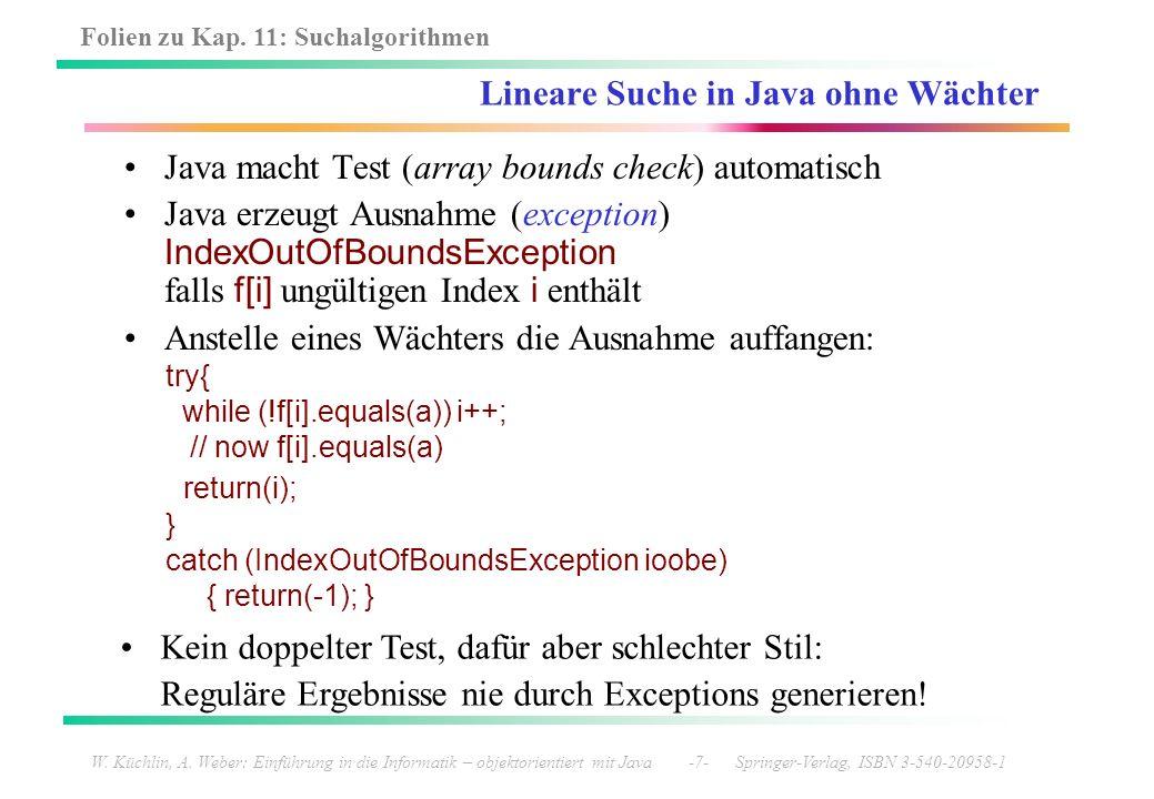 Lineare Suche in Java ohne Wächter