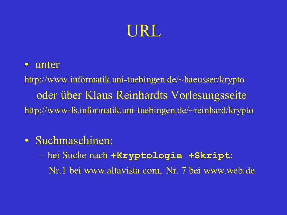 URL unter oder über Klaus Reinhardts Vorlesungsseite Suchmaschinen: