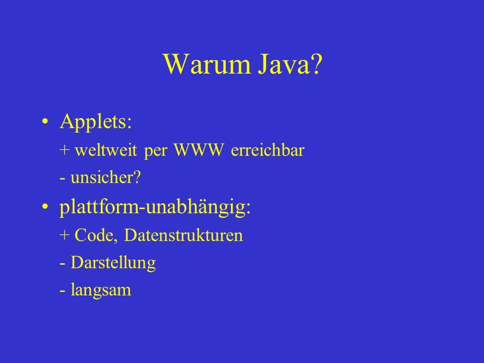 Warum Java Applets: plattform-unabhängig: