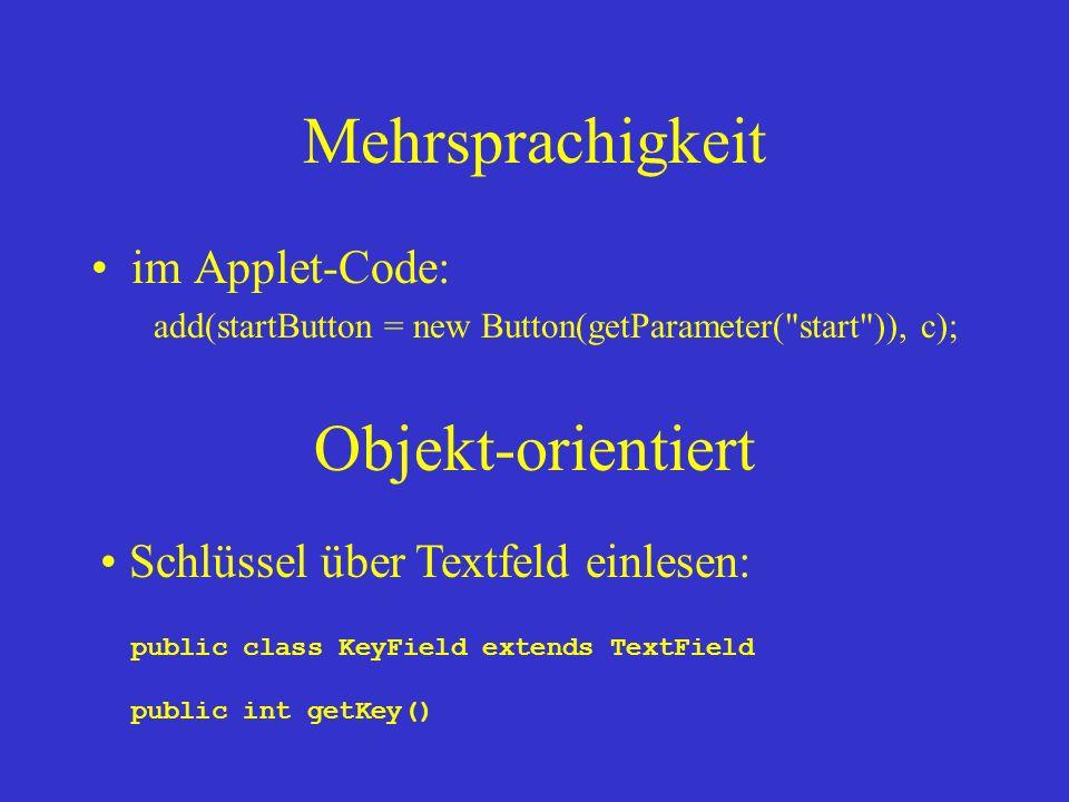 Mehrsprachigkeit Objekt-orientiert im Applet-Code: