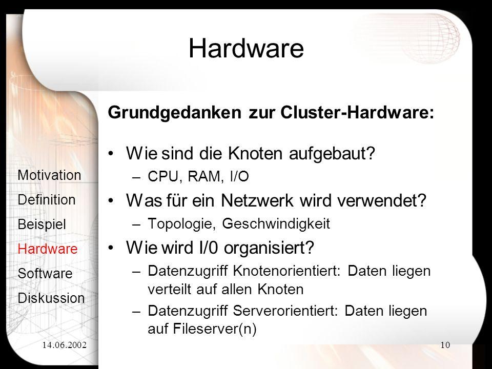 Hardware Grundgedanken zur Cluster-Hardware: