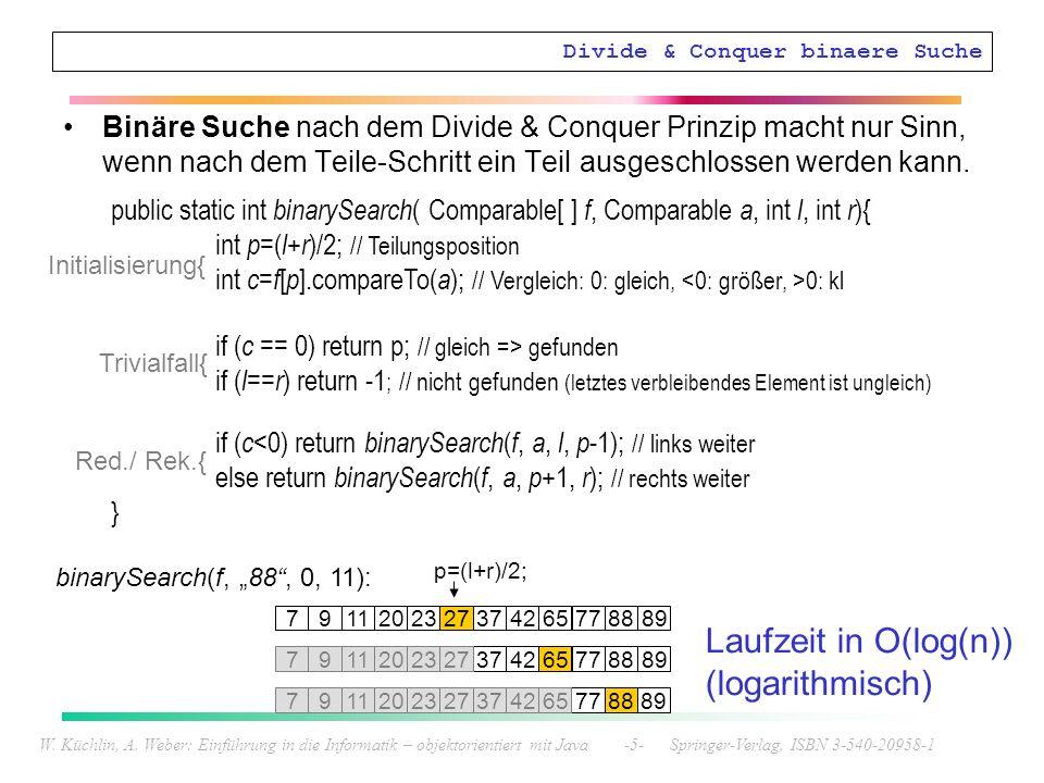 Divide & Conquer binaere Suche