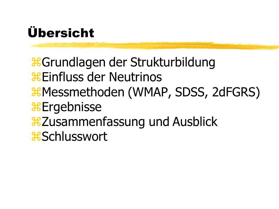 Übersicht Grundlagen der Strukturbildung. Einfluss der Neutrinos. Messmethoden (WMAP, SDSS, 2dFGRS)