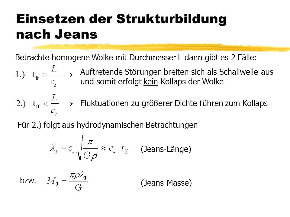 Einsetzen der Strukturbildung nach Jeans