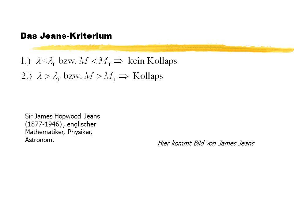 Das Jeans-Kriterium Sir James Hopwood Jeans (1877-1946) , englischer Mathematiker, Physiker, Astronom.