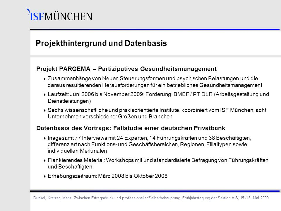 Projekthintergrund und Datenbasis