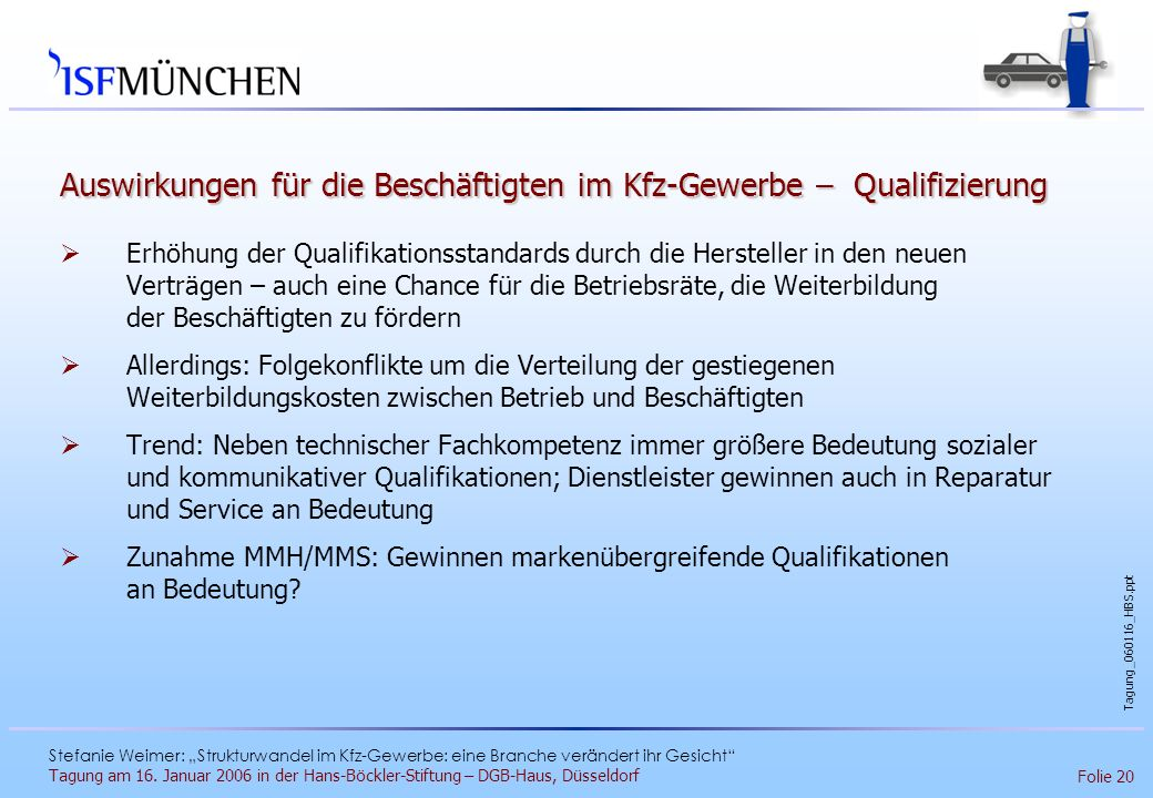 Auswirkungen für die Beschäftigten im Kfz-Gewerbe – Qualifizierung