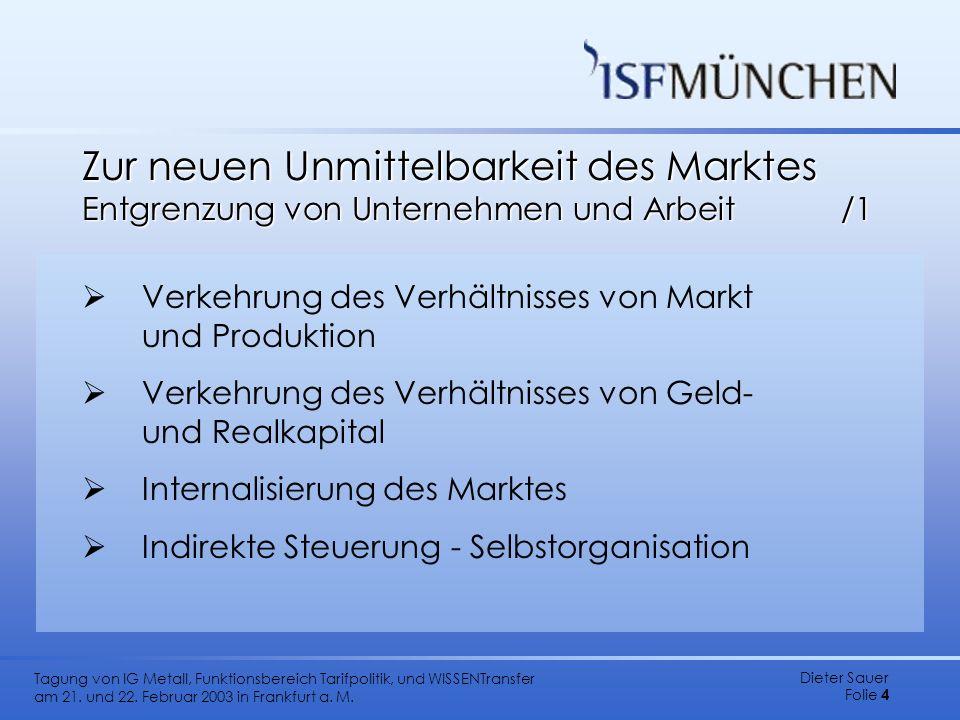 Zur neuen Unmittelbarkeit des Marktes Entgrenzung von Unternehmen und Arbeit /1
