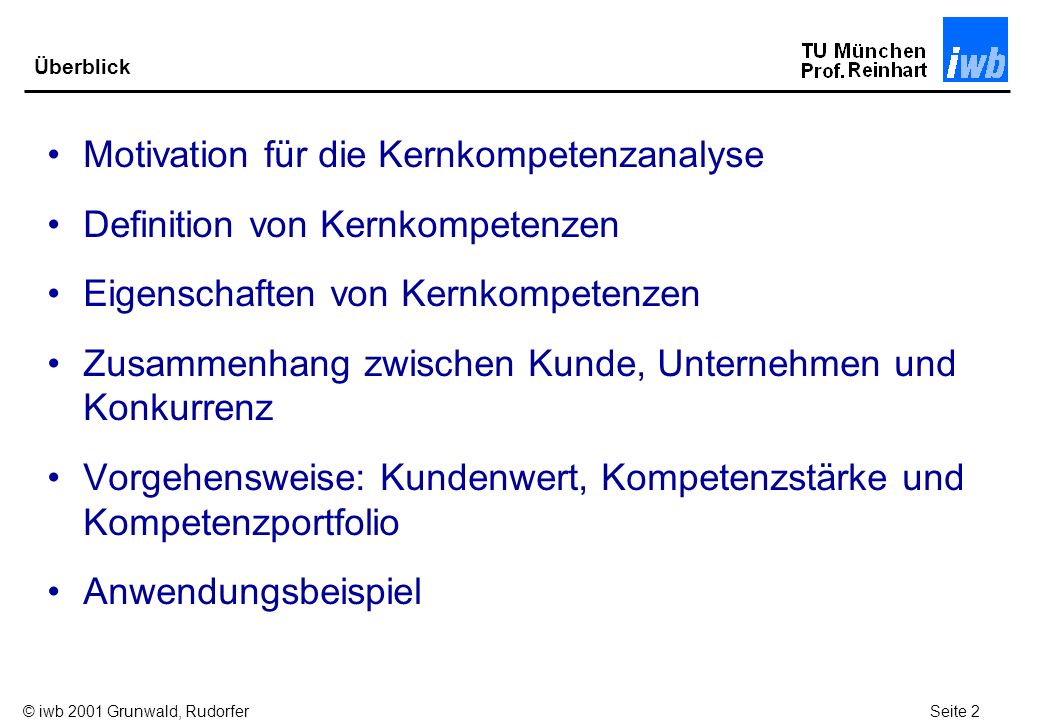 Motivation für die Kernkompetenzanalyse Definition von Kernkompetenzen