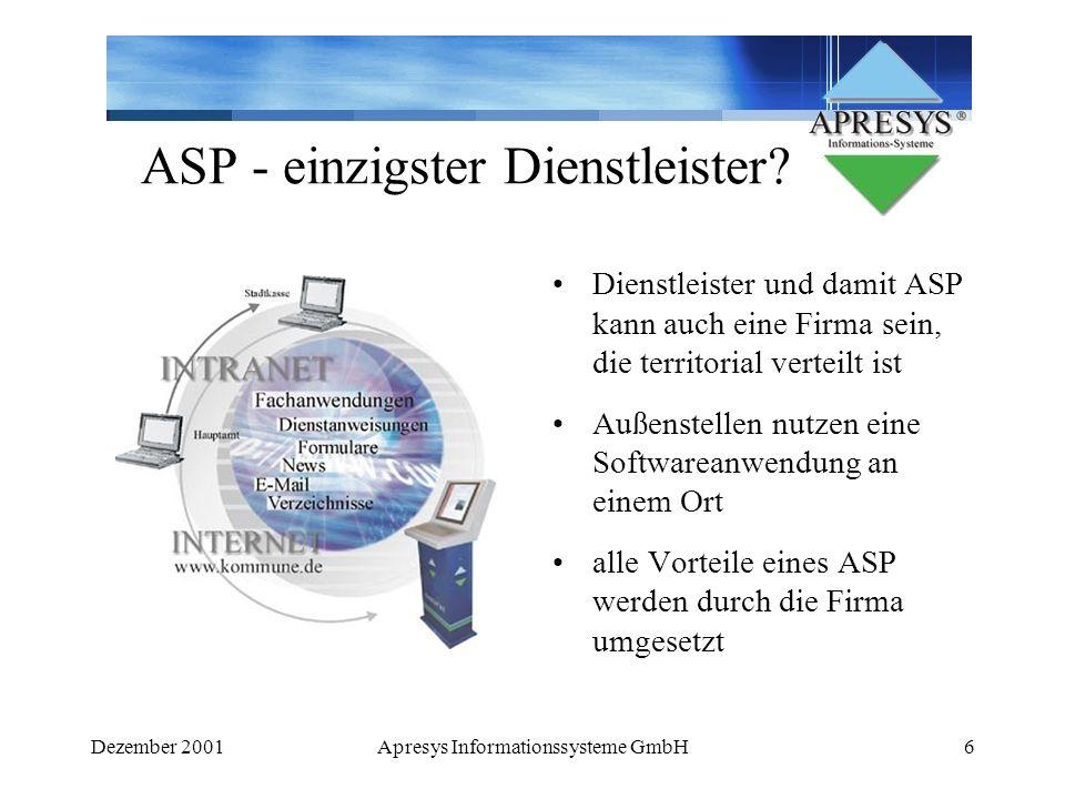 ASP - einzigster Dienstleister