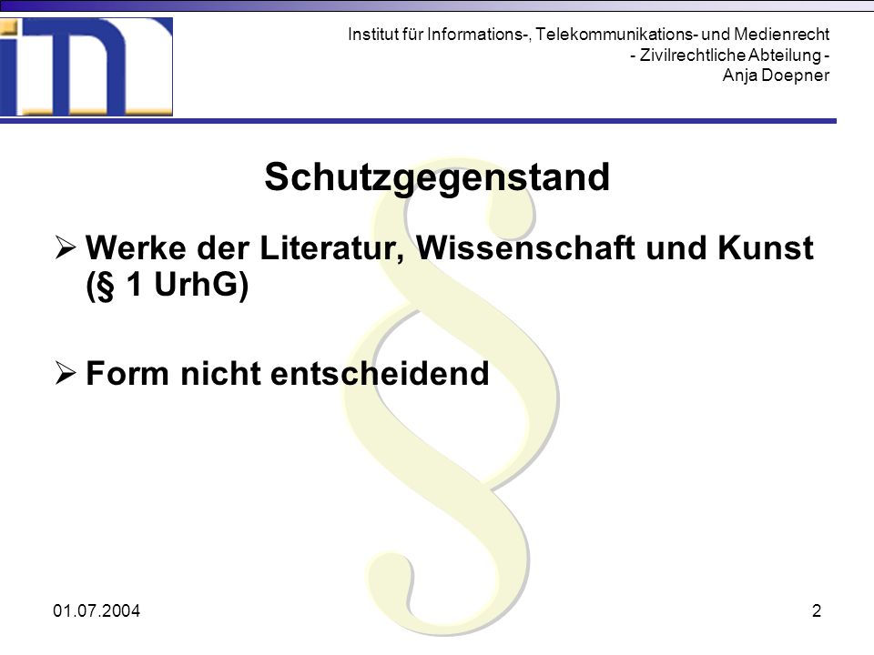 Institut für Informations-, Telekommunikations- und Medienrecht - Zivilrechtliche Abteilung - Anja Doepner