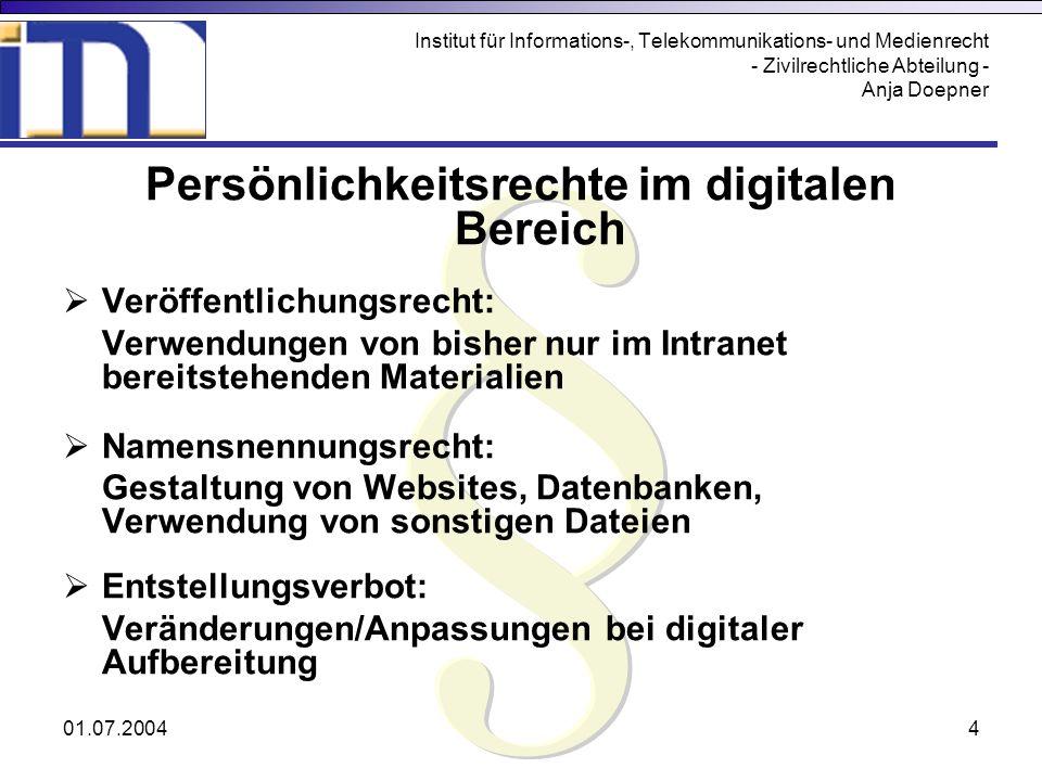 Persönlichkeitsrechte im digitalen Bereich