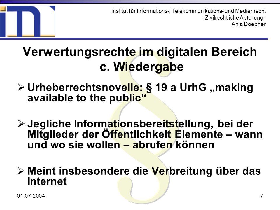 Verwertungsrechte im digitalen Bereich
