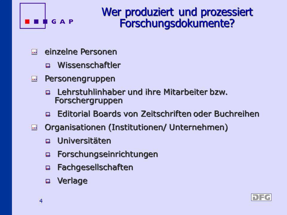Wer produziert und prozessiert Forschungsdokumente
